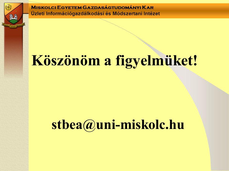 Miskolci Egyetem Gazdaságtudományi Kar Üzleti Információgazdálkodási és Módszertani Intézet Köszönöm a figyelmüket.