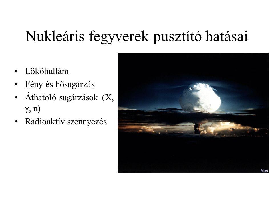Nukleáris fegyverek pusztító hatásai Lökőhullám Fény és hősugárzás Áthatoló sugárzások (X, , n) Radioaktív szennyezés