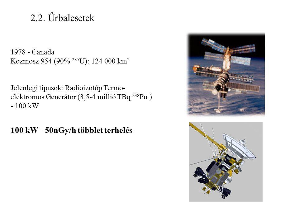 2.2. Űrbalesetek 1978 - Canada Kozmosz 954 (90% 235 U): 124 000 km 2 Jelenlegi típusok: Radioizotóp Termo- elektromos Generátor (3,5-4 millió TBq 238