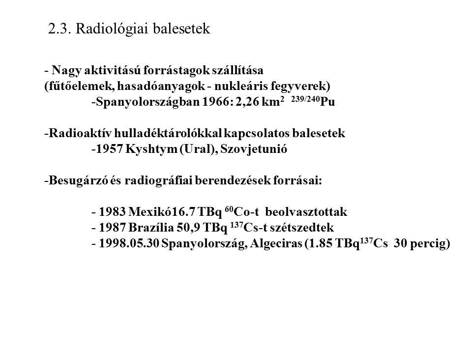 2.3. Radiológiai balesetek - Nagy aktivitású forrástagok szállítása (fűtőelemek, hasadóanyagok - nukleáris fegyverek) -Spanyolországban 1966: 2,26 km