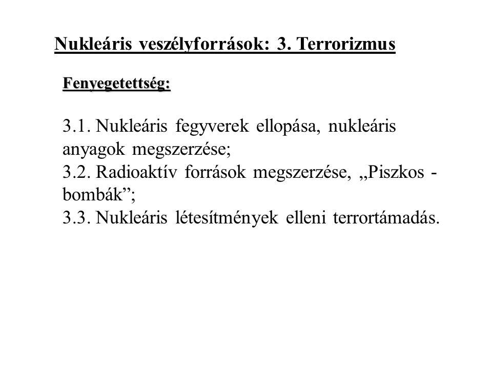 """Nukleáris veszélyforrások: 3. Terrorizmus 3.1. Nukleáris fegyverek ellopása, nukleáris anyagok megszerzése; 3.2. Radioaktív források megszerzése, """"Pis"""