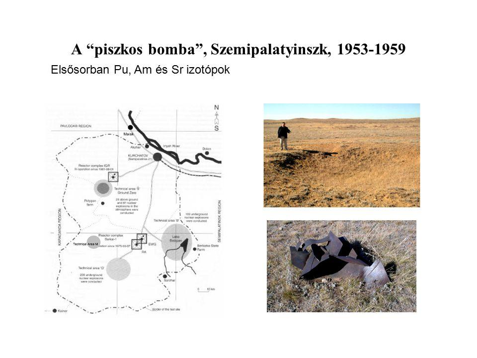 """A """"piszkos bomba"""", Szemipalatyinszk, 1953-1959 Elsősorban Pu, Am és Sr izotópok"""