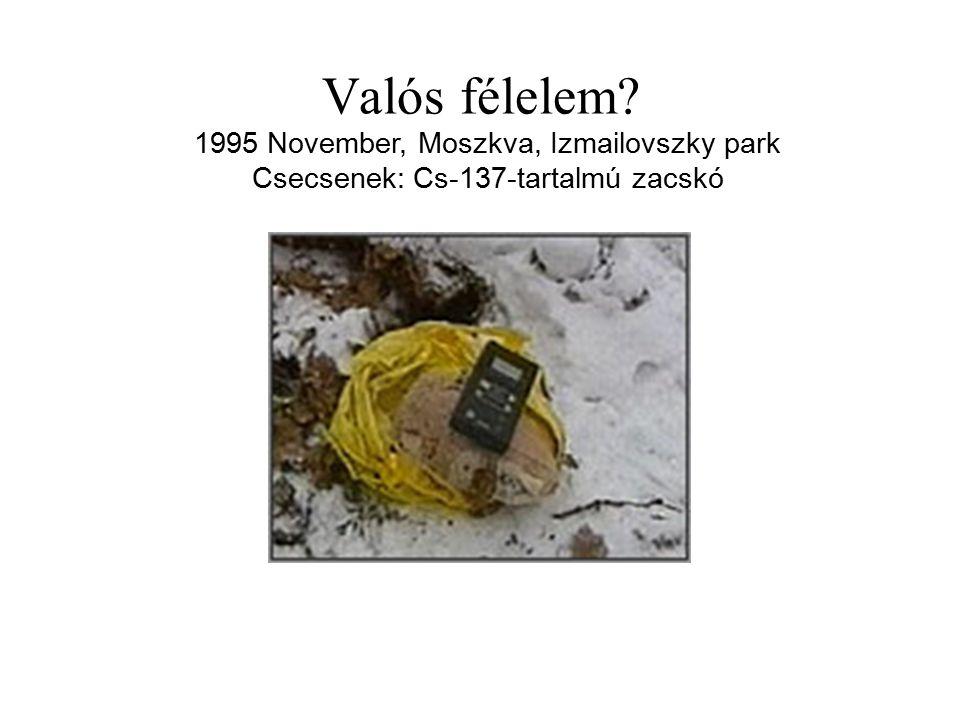 Valós félelem? 1995 November, Moszkva, Izmailovszky park Csecsenek: Cs-137-tartalmú zacskó