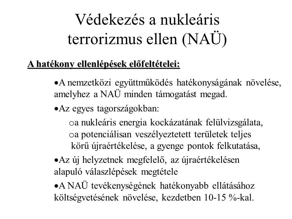 Védekezés a nukleáris terrorizmus ellen (NAÜ)  A nemzetközi együttműködés hatékonyságának növelése, amelyhez a NAÜ minden támogatást megad.  Az egye