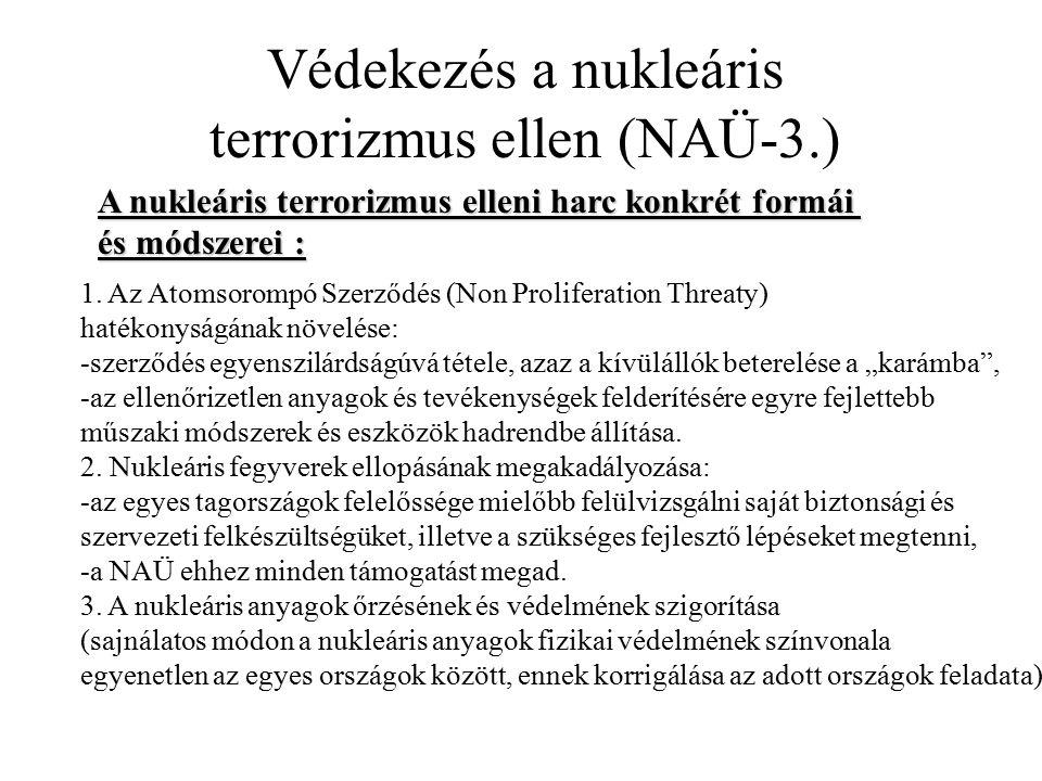 Védekezés a nukleáris terrorizmus ellen (NAÜ-3.) A nukleáris terrorizmus elleni harc konkrét formái és módszerei : 1. Az Atomsorompó Szerződés (Non Pr