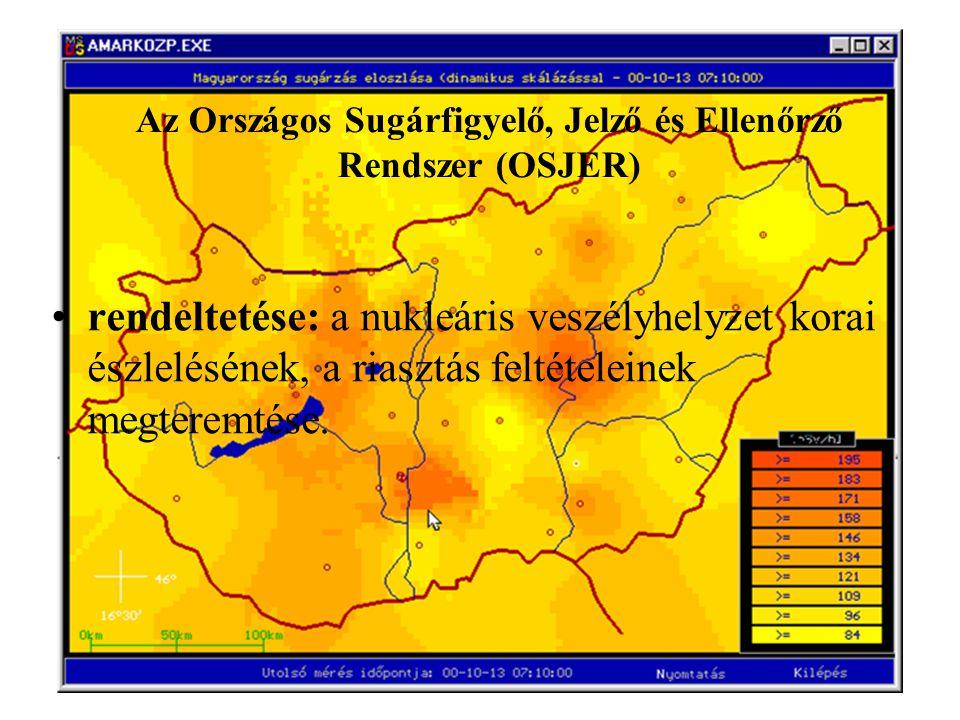Az Országos Sugárfigyelő, Jelző és Ellenőrző Rendszer (OSJER) rendeltetése: a nukleáris veszélyhelyzet korai észlelésének, a riasztás feltételeinek me