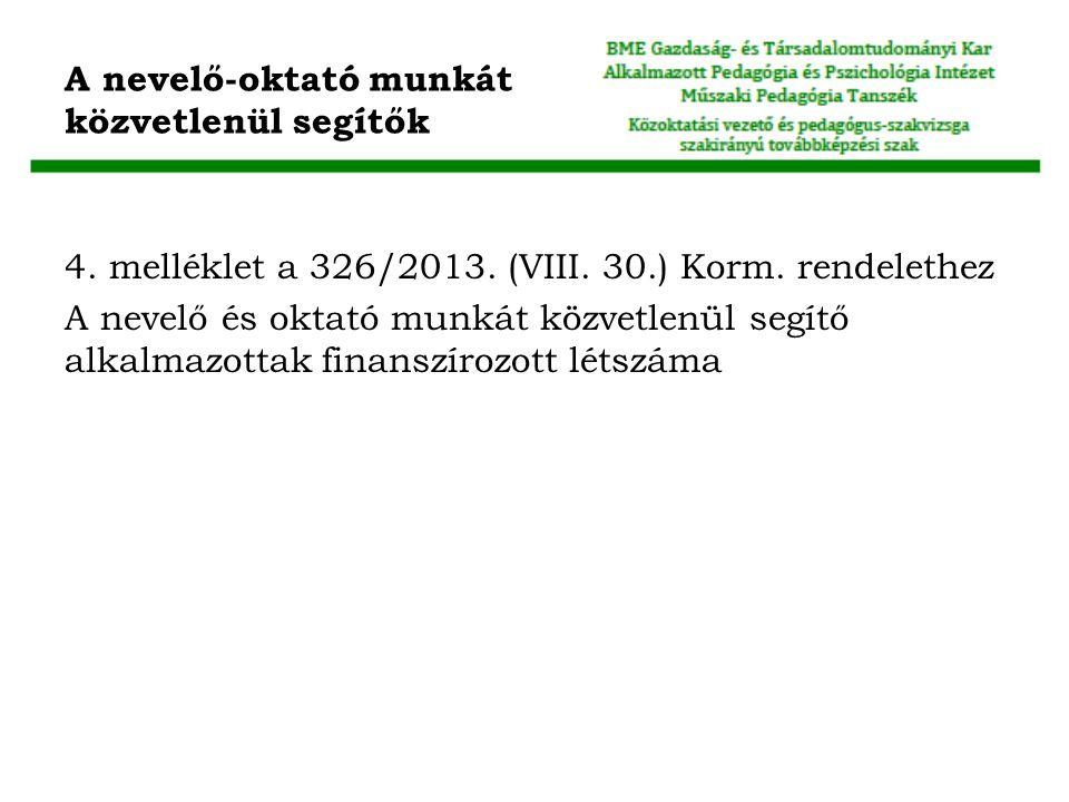 A nevelő-oktató munkát közvetlenül segítők 4.melléklet a 326/2013.