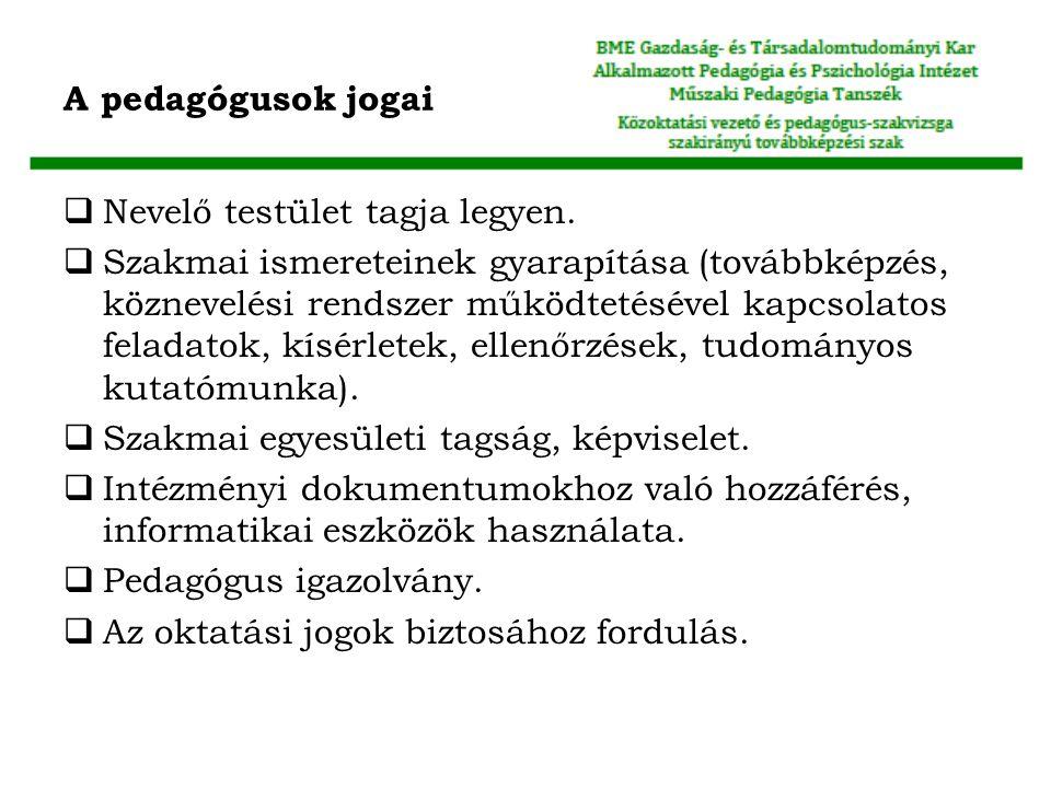 A pedagógusok jogai  Nevelő testület tagja legyen.  Szakmai ismereteinek gyarapítása (továbbképzés, köznevelési rendszer működtetésével kapcsolatos