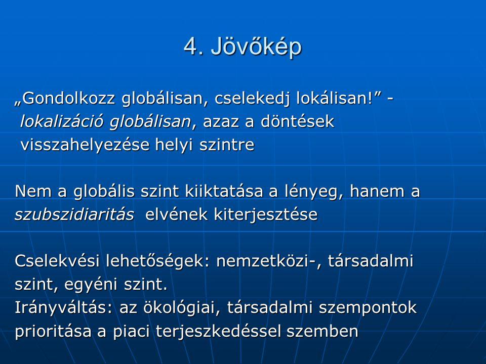 """4. Jövőkép """"Gondolkozz globálisan, cselekedj lokálisan!"""" - lokalizáció globálisan, azaz a döntések lokalizáció globálisan, azaz a döntések visszahelye"""