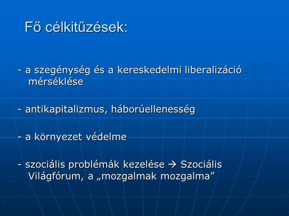 Fő célkitűzések: - a szegénység és a kereskedelmi liberalizáció mérséklése - antikapitalizmus, háborúellenesség - a környezet védelme - szociális prob