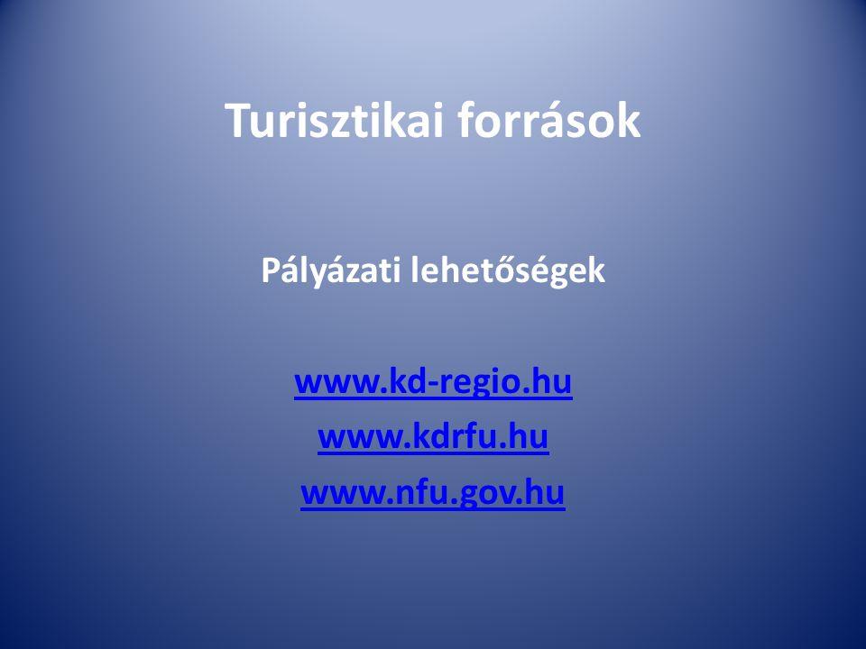 Turisztikai források Pályázati lehetőségek www.kd-regio.hu www.kdrfu.hu www.nfu.gov.hu