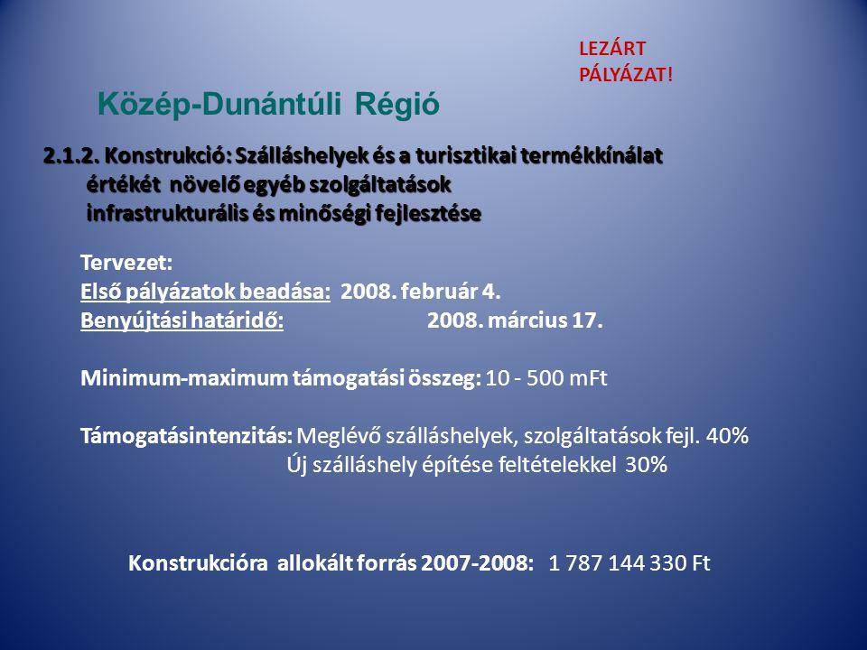 Tervezet: Első pályázatok beadása:2008. február 4.