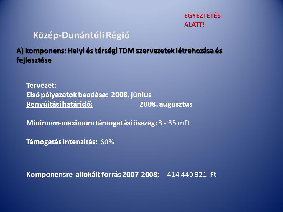 Közép-Dunántúli Régió Tervezet: Első pályázatok beadása:2008.
