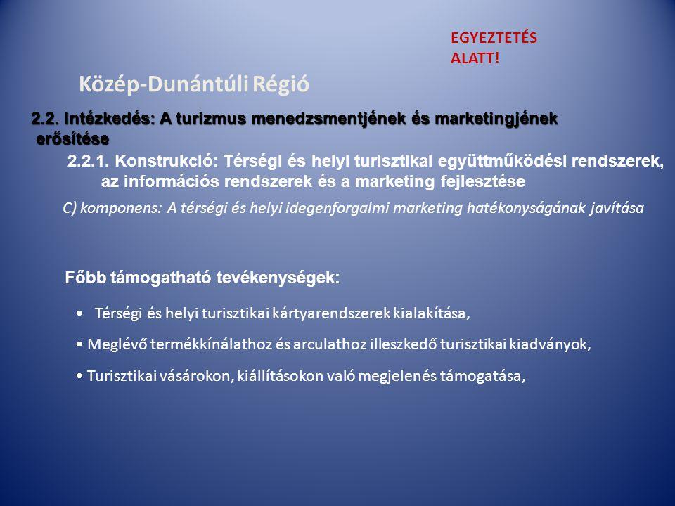 C) komponens: A térségi és helyi idegenforgalmi marketing hatékonyságának javítása 2.2.