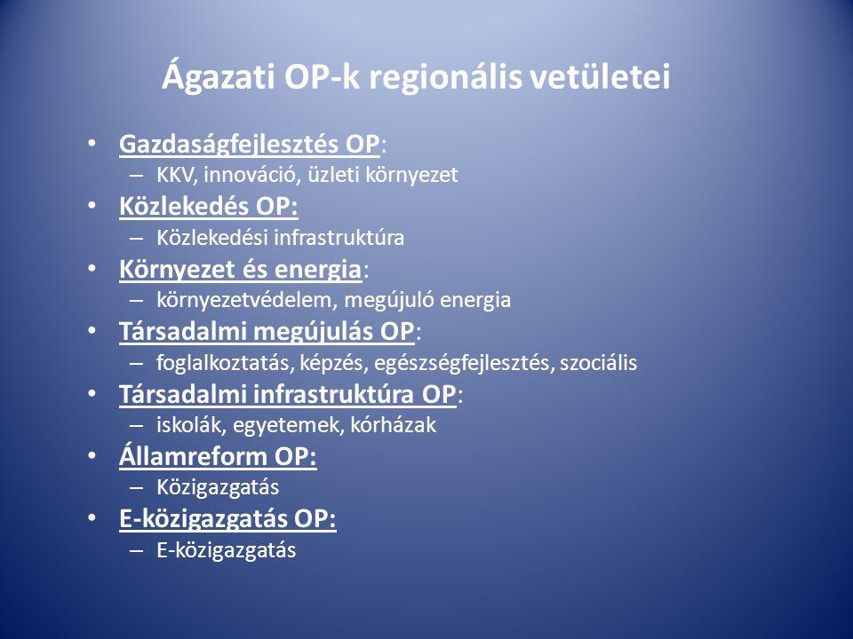 Ágazati OP-k regionális vetületei Gazdaságfejlesztés OP: – KKV, innováció, üzleti környezet Közlekedés OP: – Közlekedési infrastruktúra Környezet és energia: – környezetvédelem, megújuló energia Társadalmi megújulás OP: – foglalkoztatás, képzés, egészségfejlesztés, szociális Társadalmi infrastruktúra OP: – iskolák, egyetemek, kórházak Államreform OP: – Közigazgatás E-közigazgatás OP: – E-közigazgatás