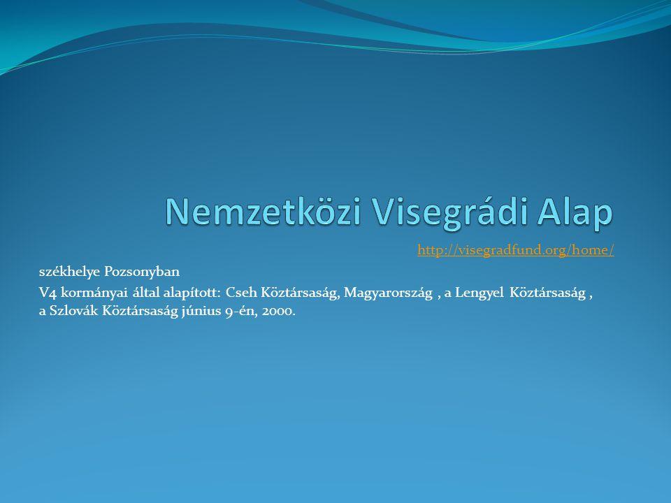 http://visegradfund.org/home/ székhelye Pozsonyban V4 kormányai által alapított: Cseh Köztársaság, Magyarország, a Lengyel Köztársaság, a Szlovák Köztársaság június 9-én, 2000.