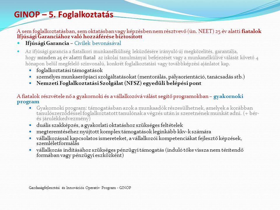 GINOP – 5. Foglalkoztatás A sem foglalkoztatásban, sem oktatásban vagy képzésben nem résztvevő (ún.