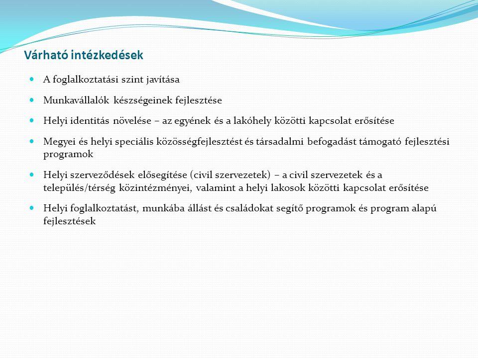 Várható intézkedések A foglalkoztatási szint javítása Munkavállalók készségeinek fejlesztése Helyi identitás növelése – az egyének és a lakóhely közötti kapcsolat erősítése Megyei és helyi speciális közösségfejlesztést és társadalmi befogadást támogató fejlesztési programok Helyi szerveződések elősegítése (civil szervezetek) – a civil szervezetek és a település/térség közintézményei, valamint a helyi lakosok közötti kapcsolat erősítése Helyi foglalkoztatást, munkába állást és családokat segítő programok és program alapú fejlesztések