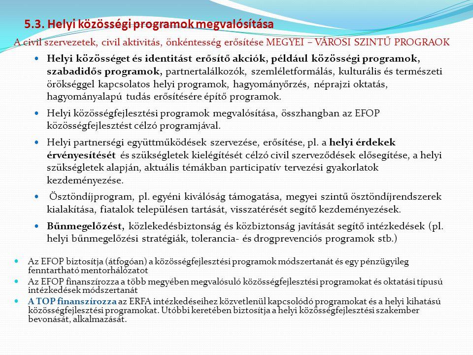 5.3. Helyi közösségi programok megvalósítása A civil szervezetek, civil aktivitás, önkéntesség erősítése MEGYEI – VÁROSI SZINTŰ PROGRAOK Helyi közössé