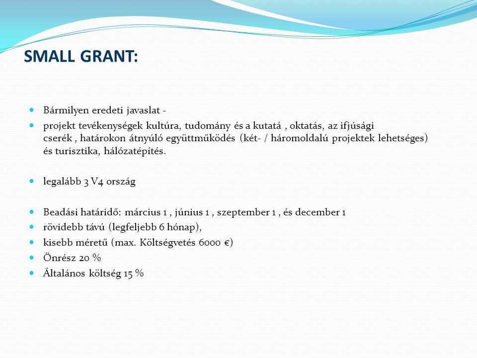 STANDARD GRANT Az alap leghosszabb ideje futó támogatási programja Bármilyen eredeti javaslatra adható támogatást Projektidőszak: maximum 12 hónap hosszabb távú projektek közepes méretű költségvetés (min.