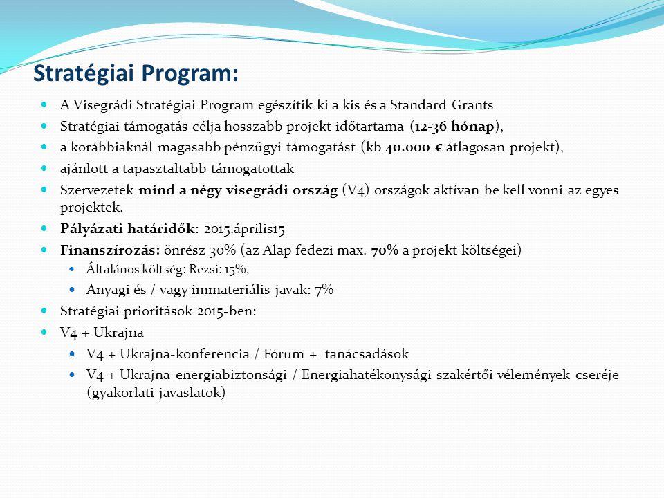Kiemelt projektek - Zászlóshajó projekteket Cél: tudástranszfer (know-how), civil társadalom fejlesztése, helyi önkormányzatokkal való együttműködés támogatása, ill.