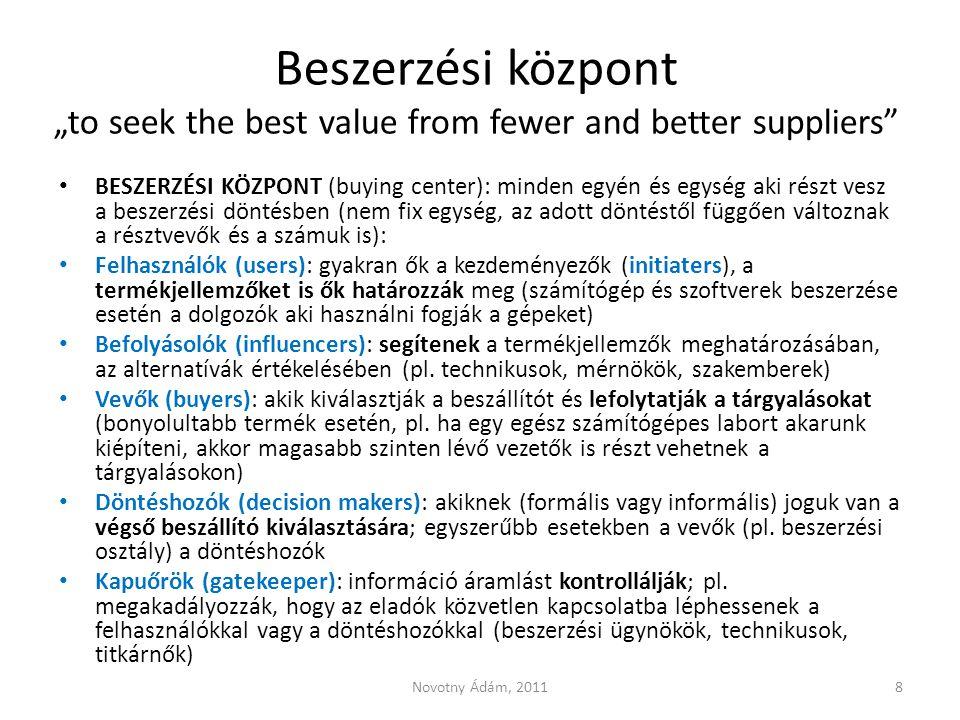 """Beszerzési központ """"to seek the best value from fewer and better suppliers"""" BESZERZÉSI KÖZPONT (buying center): minden egyén és egység aki részt vesz"""