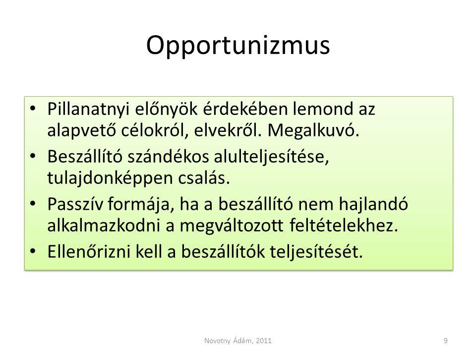Opportunizmus Pillanatnyi előnyök érdekében lemond az alapvető célokról, elvekről. Megalkuvó. Beszállító szándékos alulteljesítése, tulajdonképpen csa