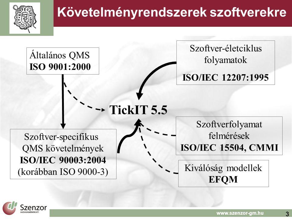 3 www.szenzor-gm.hu Követelményrendszerek szoftverekre Általános QMS ISO 9001:2000 Szoftver-specifikus QMS követelmények ISO/IEC 90003:2004 (korábban ISO 9000-3) Szoftver-életciklus folyamatok ISO/IEC 12207:1995 Szoftverfolyamat felmérések ISO/IEC 15504, CMMI TickIT 5.5 Kiválóság modellek EFQM