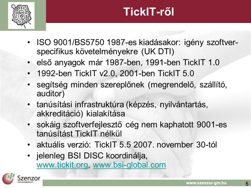 5 www.szenzor-gm.hu TickIT-ről ISO 9001/BS5750 1987-es kiadásakor: igény szoftver- specifikus követelményekre (UK DTI) első anyagok már 1987-ben, 1991-ben TickIT 1.0 1992-ben TickIT v2.0, 2001-ben TickIT 5.0 segítség minden szereplőnek (megrendelő, szállító, auditor) tanúsítási infrastruktúra (képzés, nyilvántartás, akkreditáció) kialakítása sokáig szoftverfejlesztő cég nem kaphatott 9001-es tanúsítást TickIT nélkül aktuális verzió: TickIT 5.5 2007.