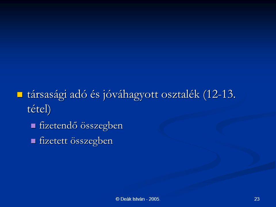 23© Deák István - 2005. társasági adó és jóváhagyott osztalék (12-13. tétel) társasági adó és jóváhagyott osztalék (12-13. tétel) fizetendő összegben