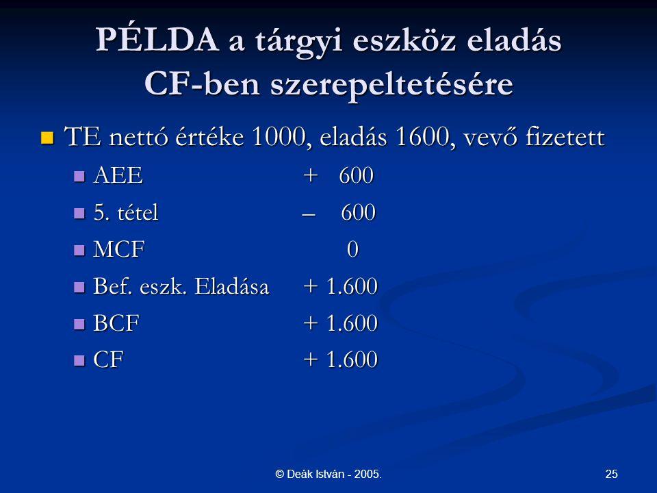 25© Deák István - 2005. PÉLDA a tárgyi eszköz eladás CF-ben szerepeltetésére TE nettó értéke 1000, eladás 1600, vevő fizetett TE nettó értéke 1000, el