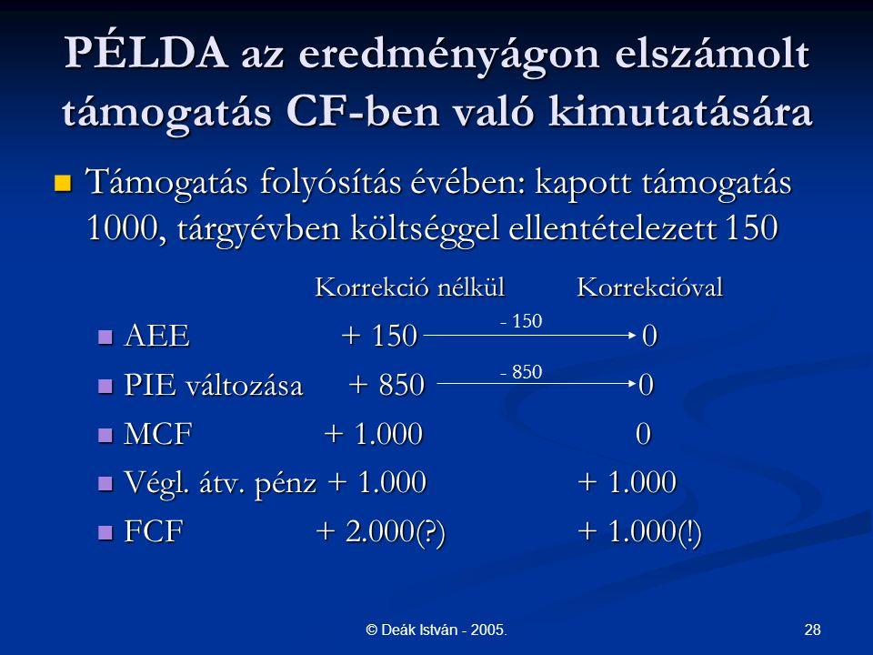 28© Deák István - 2005. PÉLDA az eredményágon elszámolt támogatás CF-ben való kimutatására Támogatás folyósítás évében: kapott támogatás 1000, tárgyév