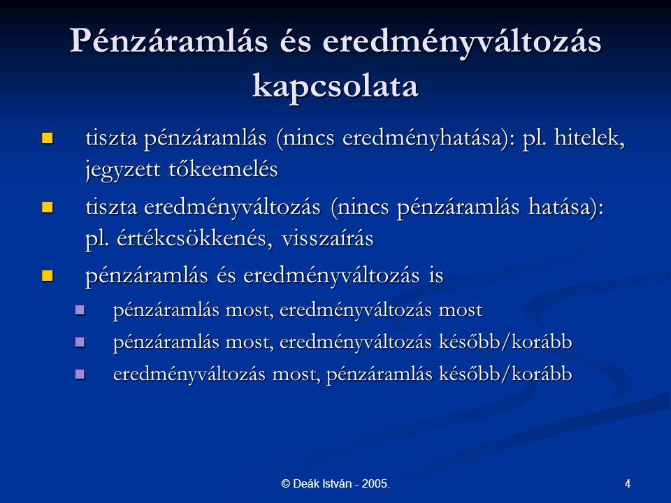 4© Deák István - 2005. Pénzáramlás és eredményváltozás kapcsolata tiszta pénzáramlás (nincs eredményhatása): pl. hitelek, jegyzett tőkeemelés tiszta p