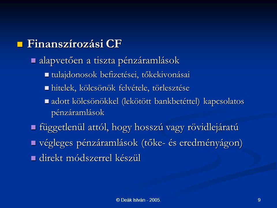 9© Deák István - 2005. Finanszírozási CF Finanszírozási CF alapvetően a tiszta pénzáramlások alapvetően a tiszta pénzáramlások tulajdonosok befizetése