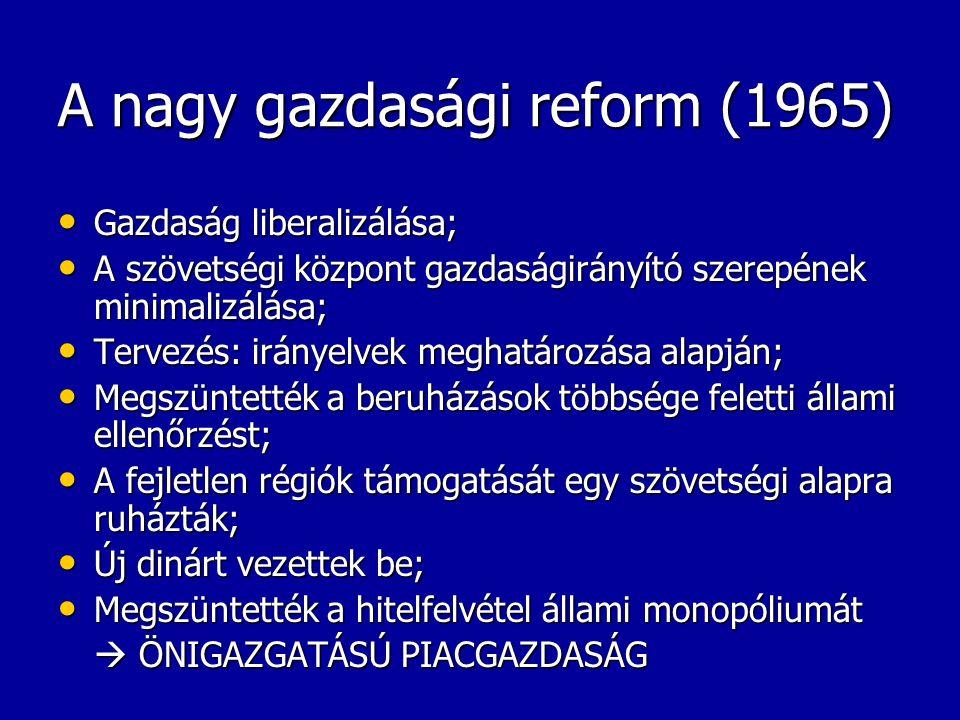 A nagy gazdasági reform (1965) Gazdaság liberalizálása; Gazdaság liberalizálása; A szövetségi központ gazdaságirányító szerepének minimalizálása; A sz