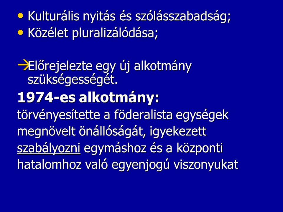 Kulturális nyitás és szólásszabadság; Kulturális nyitás és szólásszabadság; Közélet pluralizálódása; Közélet pluralizálódása;  Előrejelezte egy új al