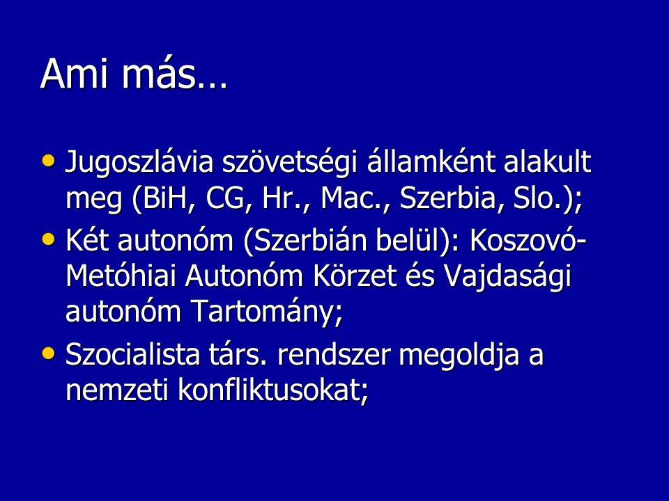 Ami más… Jugoszlávia szövetségi államként alakult meg (BiH, CG, Hr., Mac., Szerbia, Slo.); Jugoszlávia szövetségi államként alakult meg (BiH, CG, Hr.,