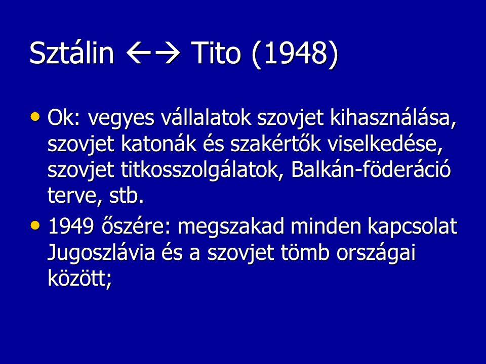 Sztálin  Tito (1948) Ok: vegyes vállalatok szovjet kihasználása, szovjet katonák és szakértők viselkedése, szovjet titkosszolgálatok, Balkán-föderác