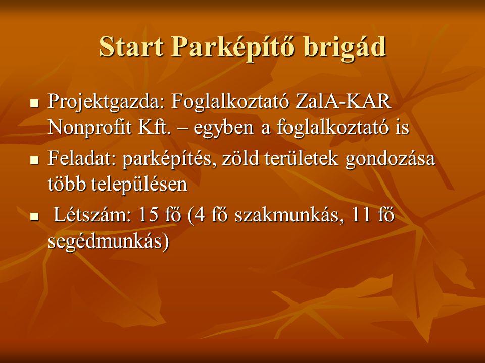 Start Parképítő brigád Projektgazda: Foglalkoztató ZalA-KAR Nonprofit Kft.