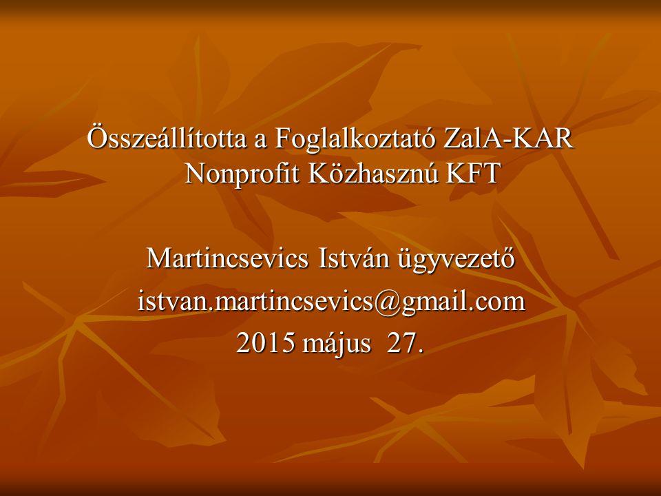 Összeállította a Foglalkoztató ZalA-KAR Nonprofit Közhasznú KFT Martincsevics István ügyvezető istvan.martincsevics@gmail.com 2015 május 27.