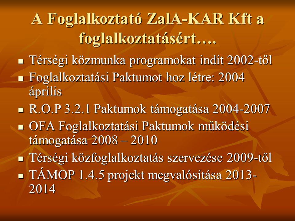 A Foglalkoztató Kft feladata Térségi Starmunka Közmunka Program megvalósítása BM Térségi Starmunka Közmunka Program megvalósítása BM Rendezvények infrastruktúrájának működtetése Rendezvények infrastruktúrájának működtetése Pakodi Képzési Bemutató Központ (PAKK) működtetése SOPRO HU-AT IPA Pakodi Képzési Bemutató Központ (PAKK) működtetése SOPRO HU-AT IPA Hátrányos helyzetű munkanélküliek foglalkoztatása TÁMOP 1.4.5 Hátrányos helyzetű munkanélküliek foglalkoztatása TÁMOP 1.4.5