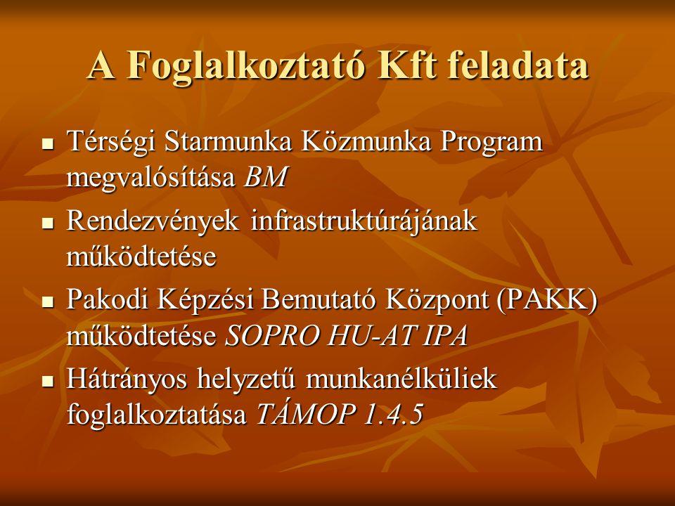 Egymást erősítő programok AT-HU: infrastruktúra LEADER: infrastruktúra Startmunka: foglakoztatáshoz forrás TÁMOP1.4.5 foglalkoztatáshoz és képzéshez forrás Szociális Földprogram: öngondoskodás KEOP: környezettudatosság