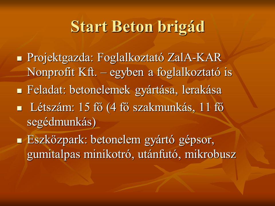 Start Beton brigád Projektgazda: Foglalkoztató ZalA-KAR Nonprofit Kft.