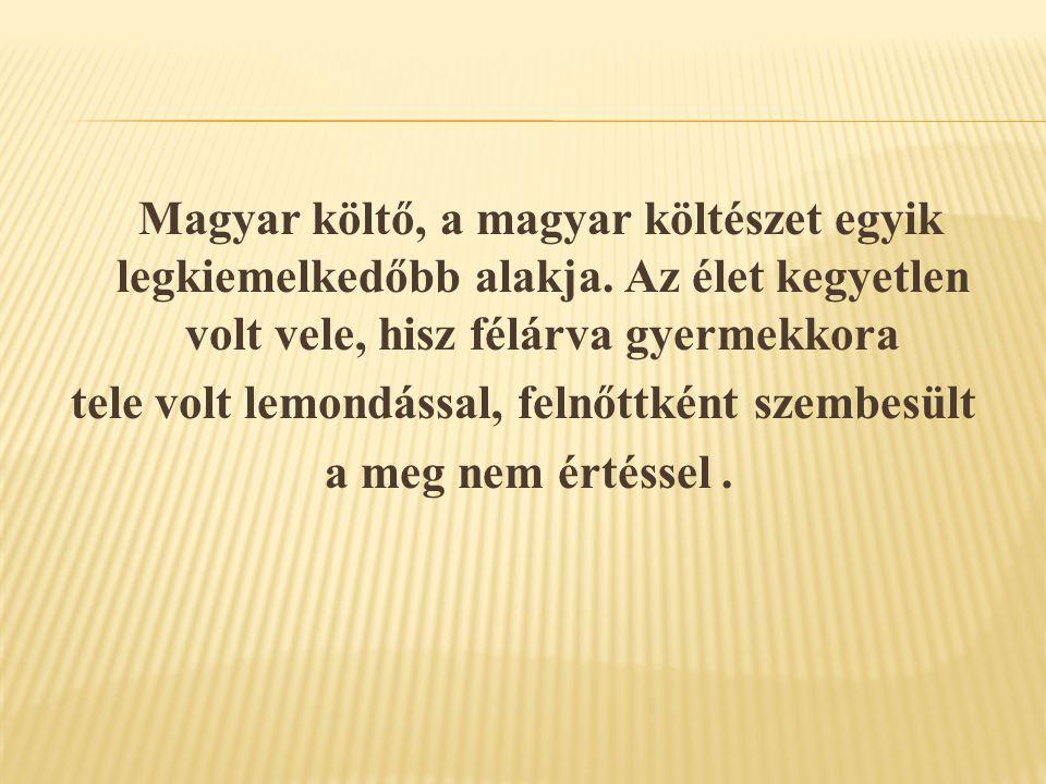 Magyar költő, a magyar költészet egyik legkiemelkedőbb alakja. Az élet kegyetlen volt vele, hisz félárva gyermekkora tele volt lemondással, felnőttkén
