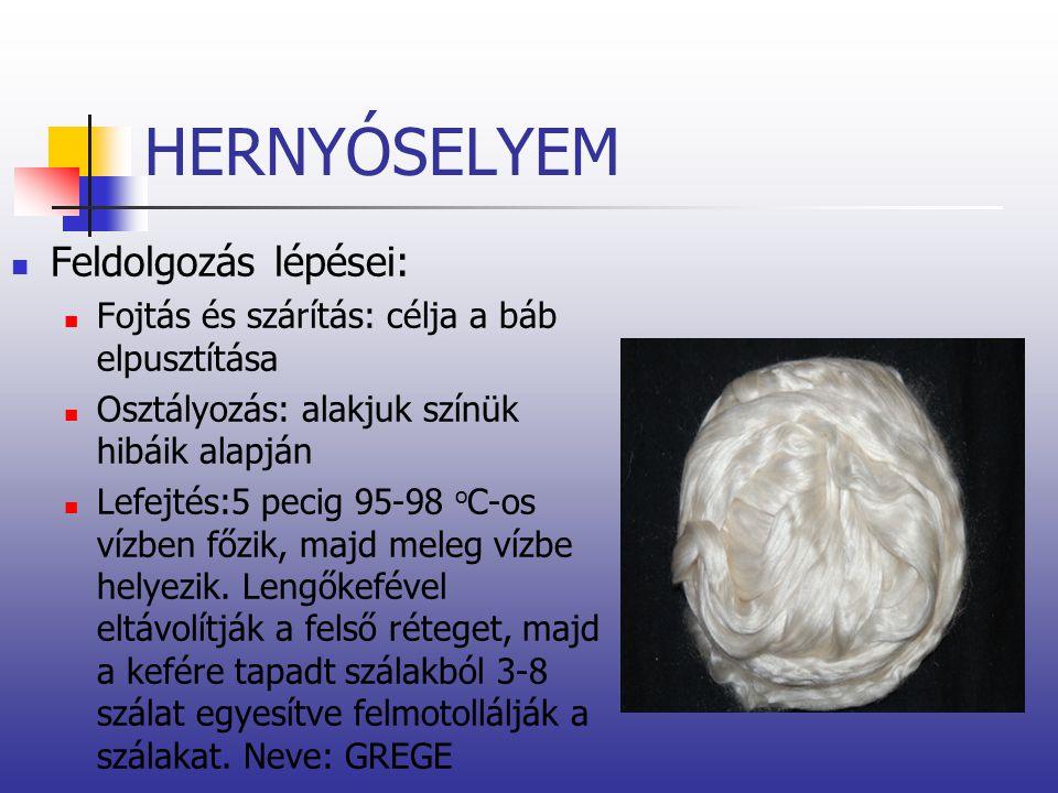 HERNYÓSELYEM Feldolgozás lépései: Fojtás és szárítás: célja a báb elpusztítása Osztályozás: alakjuk színük hibáik alapján Lefejtés:5 pecig 95-98 o C-o