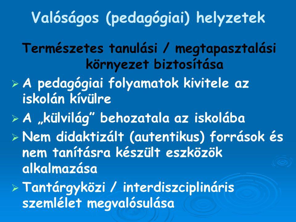 Valóságos (pedagógiai) helyzetek Természetes tanulási / megtapasztalási környezet biztosítása   A pedagógiai folyamatok kivitele az iskolán kívülre