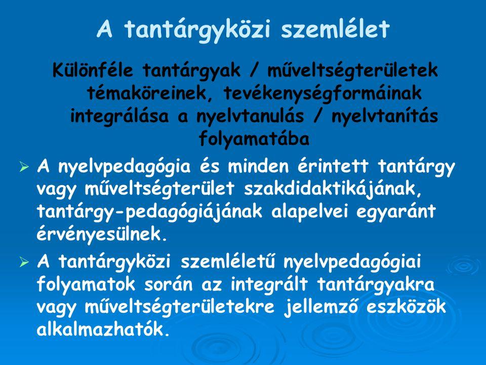 A tantárgyközi szemlélet Különféle tantárgyak / műveltségterületek témaköreinek, tevékenységformáinak integrálása a nyelvtanulás / nyelvtanítás folyam