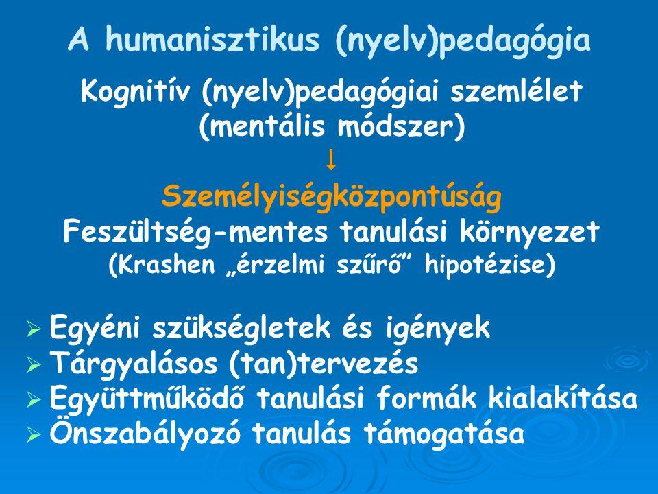A humanisztikus (nyelv)pedagógia Kognitív (nyelv)pedagógiai szemlélet (mentális módszer)  Személyiségközpontúság Feszültség-mentes tanulási környezet