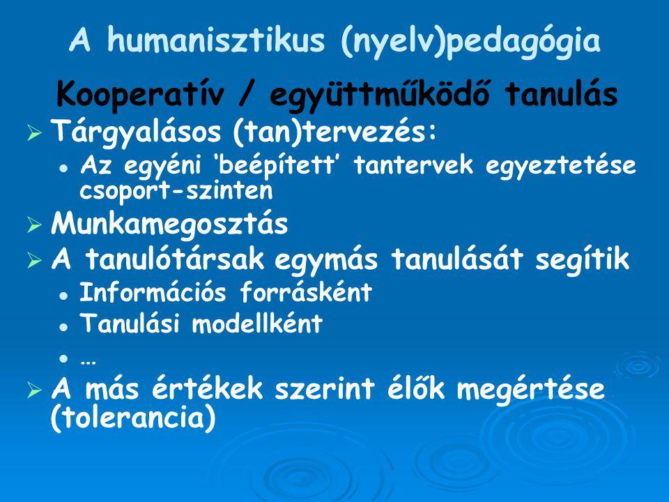 A humanisztikus (nyelv)pedagógia Kooperatív / együttműködő tanulás   Tárgyalásos (tan)tervezés: Az egyéni 'beépített' tantervek egyeztetése csoport-