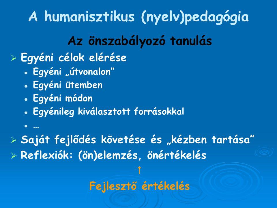 """A humanisztikus (nyelv)pedagógia Az önszabályozó tanulás   Egyéni célok elérése Egyéni """"útvonalon"""" Egyéni ütemben Egyéni módon Egyénileg kiválasztot"""